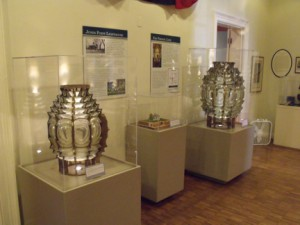 4th and 5th Order Fresnel lenses – located in the Lobby – Lyceum Museum. Photo by A. Pasek.