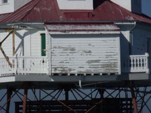 Photo by Tony Pasek Supply shed built by Coast Guard that will be removed.