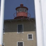 Reflections of Point Lookout Light in newly installed window.