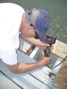 Tony preparing site for new board.