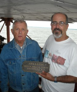 Hobie presents Henry with  plaque being returned to Thomas Point.