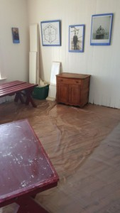 Floor covered after varnish applied.