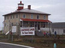 Point Lookout Lighthouse on a dreary day.