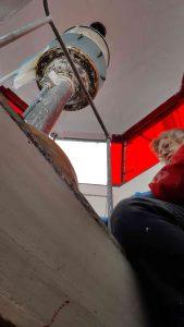 Heidi scraping lantern room.