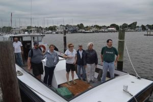 Crew arrives back on mainland. L-R Capt. Howard, Sean, Lindsey, Cory, Dick, Mary, Karl. (Not picture Steven and James)
