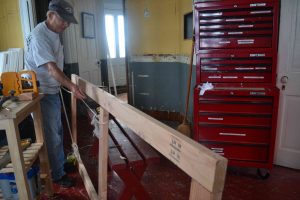 Dick Moale starts framing for planned closet in equipment room.