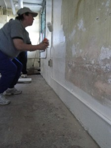 Photo by Anne Puppa Carolyn painting the wall.