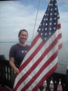 Photo by Hobie Statzer. Keast & Hood volunteers raise the flag.