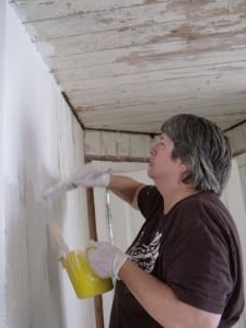 Photo by Tony Pasek Virginia Crespo paints sitting room wall.