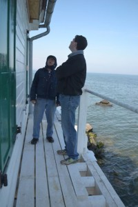 Hobie and Karl inspect the Lighthouse.