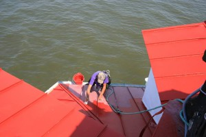 Contractors working on the roofof elastomeric paint to Thomas Point roof.