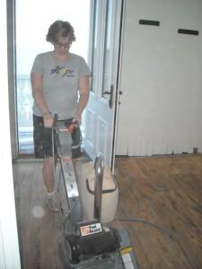 Cory sanding floor.