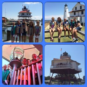 """Our Group of scouts (girl scouts and cub scouts) completed your Scout Patch program today. We had a great time visiting Drum Point [and] Cove Point lighthouses. We also learned about Jones Point and Fort Washington lighthouses. Great Patch Program!!!! GSCNC Troop 2492"" Photo Courtesy Elaine Morgan"
