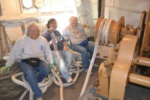 Lauren, Paula and Anne on rope in Anchor Windlass Room