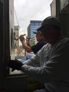 Hobie and Tony working on door to half deck