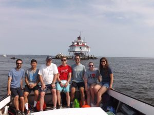 Returning to the mainland aboard the Audacious. Left to Right - Craig Swift or Damon Campbell, Bryan See, Mat Daw, Craig Swift or Damon Campbell, Michael Zajac, Lauren Schmitz and Daniella Blyakhman.