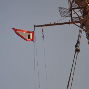 Lighthouse Service Flag Flying Over the Lightship